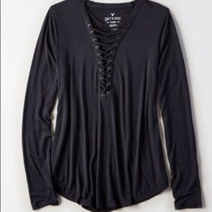 AE Soft & Sexy Lace Up Long Sleeve Tee in XS